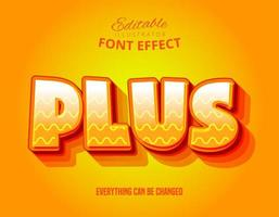 Plus wavy line text, editable font effect vector