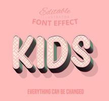 Kids crossed stripe pattern text, editable text style vector