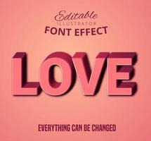Amo texto 3D rosa, estilo de texto editável