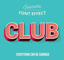 Club Outline Inset text, editable text style vector