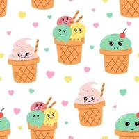 Seamless pattern delicious ice cream sundae
