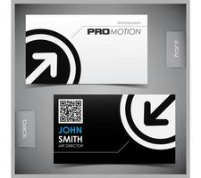 Black and White Arrow in Circle Business Card template