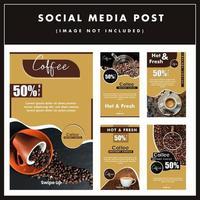 Conjunto grande design de cartaz de mídia social de venda de café