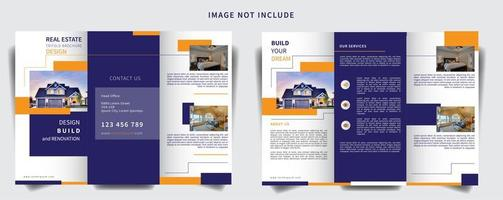minimalist sectioned trifold brochure vector