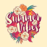 Summer vibes typography banner in tropical flower frame