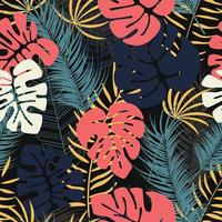 Summer seamless tropical pattern with colorful monstera palm leaves