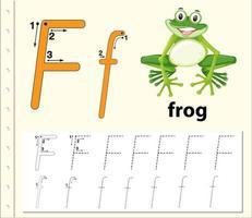 Feuilles de calcul de l'alphabet traçant la lettre F