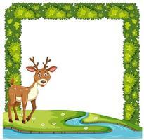 A cute deer in nature frame vector