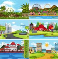 A set of outdoor scene including building vector