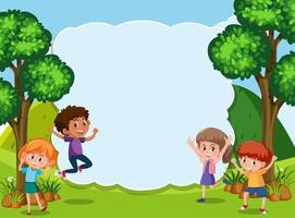 Kids in nature template vector