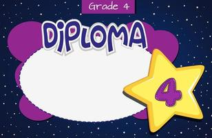 Grade four diploma certificate template vector