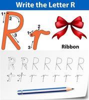 Escribe la letra r cintas vector