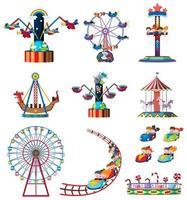 A set of fun fair rides vector