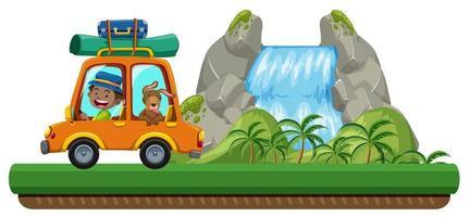 Hombre y mascota viajan en coche