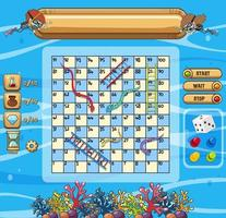 Underwater scene with snakes and ladders game template vector