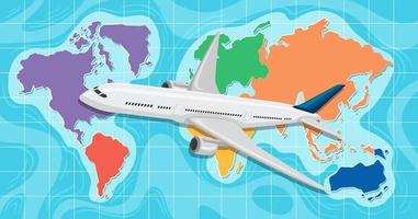 Airplane infront of a global map vector