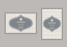 Business card with chevron stripes design in portrait and landscape format
