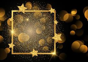 Gold border on glitter background with stars  vector