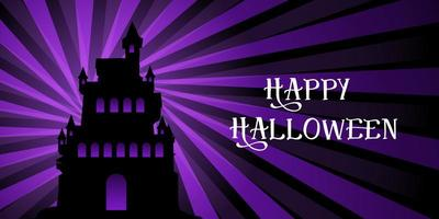 Halloween banner with castle on starburst design vector