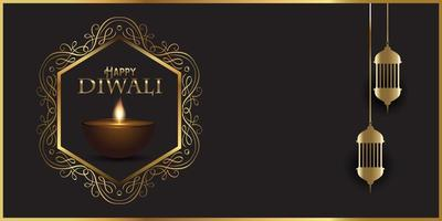 Decorative banner design for Diwali with Indian lamps vector