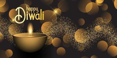 Bannière Diwali avec lumières bokeh et design scintillant