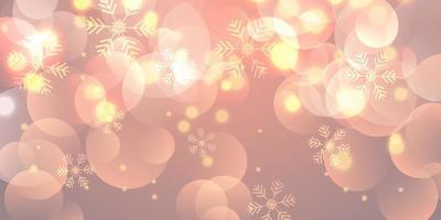 Christmas banner with snowflakes and bokeh lights