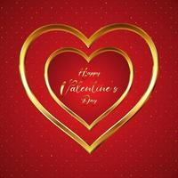 elegant valentines day background with gold hearts 0801 vector