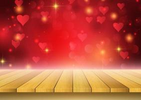 Alla hjärtans dagbakgrund med trätabellen som ser ut till hjärtadesign
