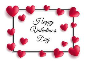 Valentine's Day background with hearts and frame