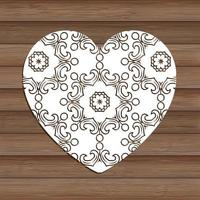 decorative cutout heart on wooden texture 0901 vector