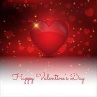 Fundo decorativo de dia dos namorados com coração de estilo 3D vetor