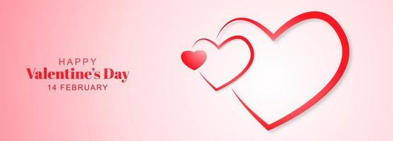 Beautiful outline hearts valentines day banner