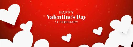 Valentines day card decorative paper hearts banner vector