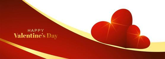 Valentines day banner with glowing heart design vector