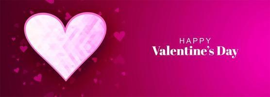 Geometric heart valentines day banner