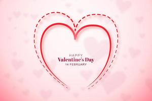 Valentines day card with dashed and outline heart vector