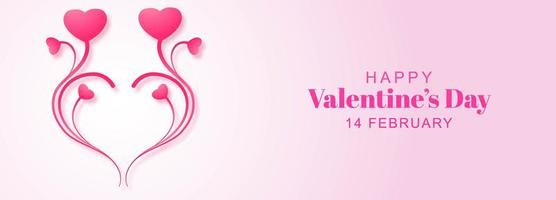 Floral heart design valentines day banner vector