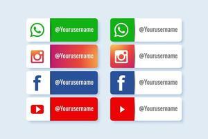 Set of social media lower third icon vector