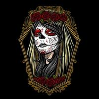 dia de los muertos niña pintada cara vector