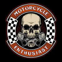 skull biker with piston badge