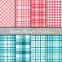 Pink and turquoise collection of baby tartan patterns