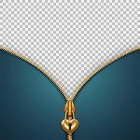 Banner with unzipped golden padlock zipper