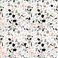Terrazzo seamless pattern design with hand drawn rocks
