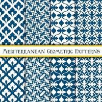 Elegant collection of blue geometric mediterranean patterns