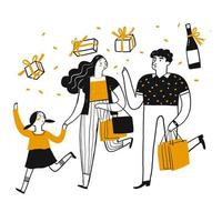 Familia de dibujos animados de compras