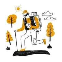 Male mountain climber hiking.  vector