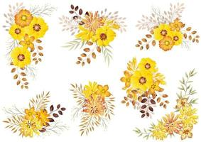 Set of watercolor floral elements isolated on a white background.