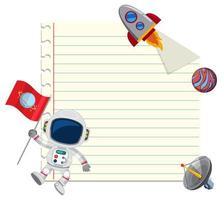 Space theme note paper with space elements