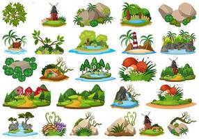 Large group of isolated nature themes. vector