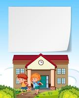 Children leaving home blank note vector